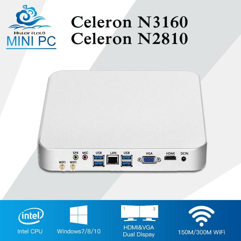 Intel CPU Mini PC Fanless Computer Mini Windows 10 Celeron N3160 Quad Cores HTPC Barebone Desktop Computer 4GB RAM TV BOX