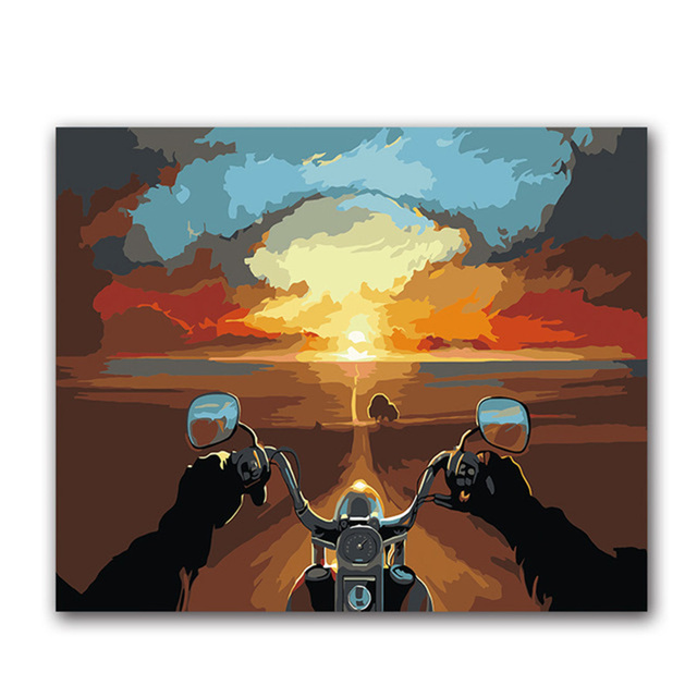 Coloring by numbers Abstract Landscape Distance sky Riding a motorcycle pictures Paintings drawing paints   with colors