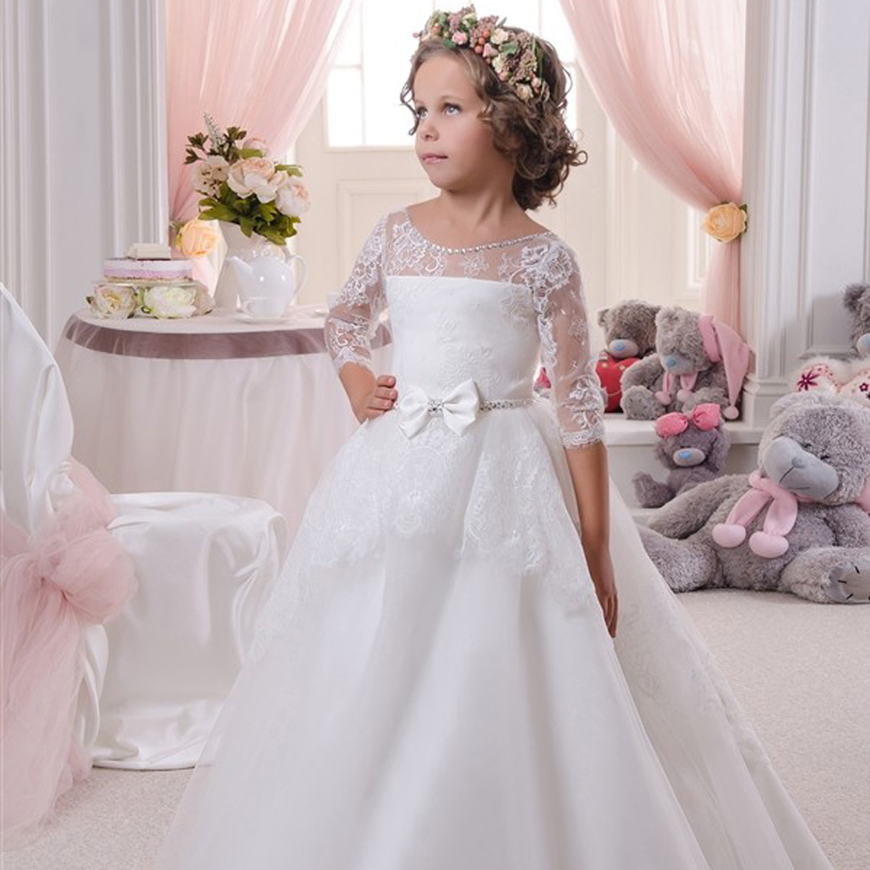 Lovely White Ball Gown Lace Flower Girls Dresses With Three Quarter 2016 Appliques Bow Knot Cheap China First Communion Dress girls formal dress lace three quarter ball gown backless bow sash long flower girls communion 2016 pageant dress 1 14 years old