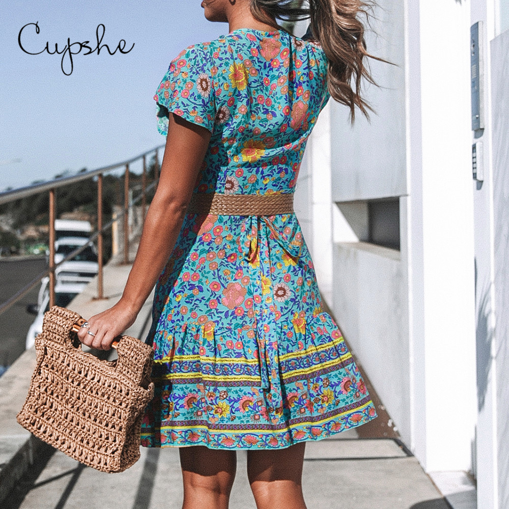 CUPSHE женское богемное платье с цветочным принтом и v-образным вырезом на шнуровке, новинка 2020, летний элегантный сарафан в стиле бохо с коротк...