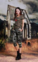 Women Summer Camouflage Sets Star Printing Casual Two Pieces Suits 1 Short Sleeves T Shirt 1