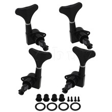 Yibuy BLACK Sealed BASS TUNERS TUNING PEGS SET 4 (2L+2R)