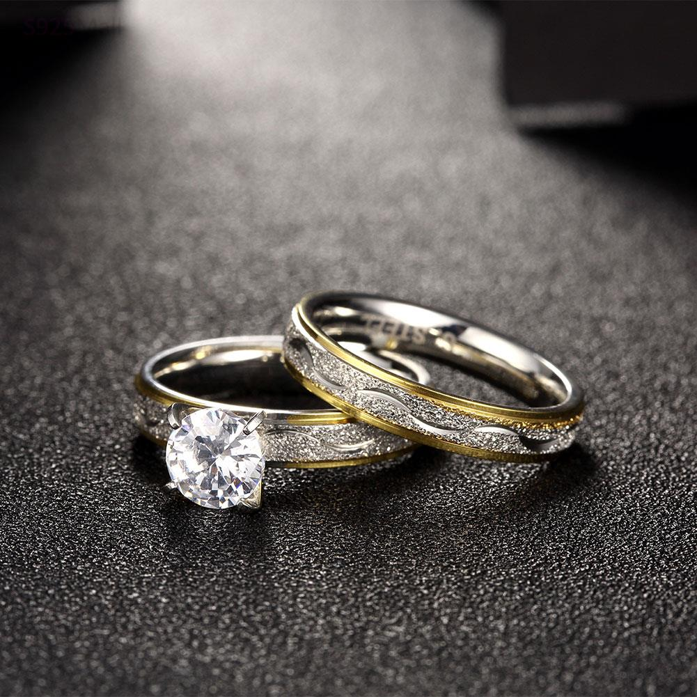 Vintage Fashion indah pola baja titanium cincin warna emas trendy - Perhiasan fashion - Foto 3