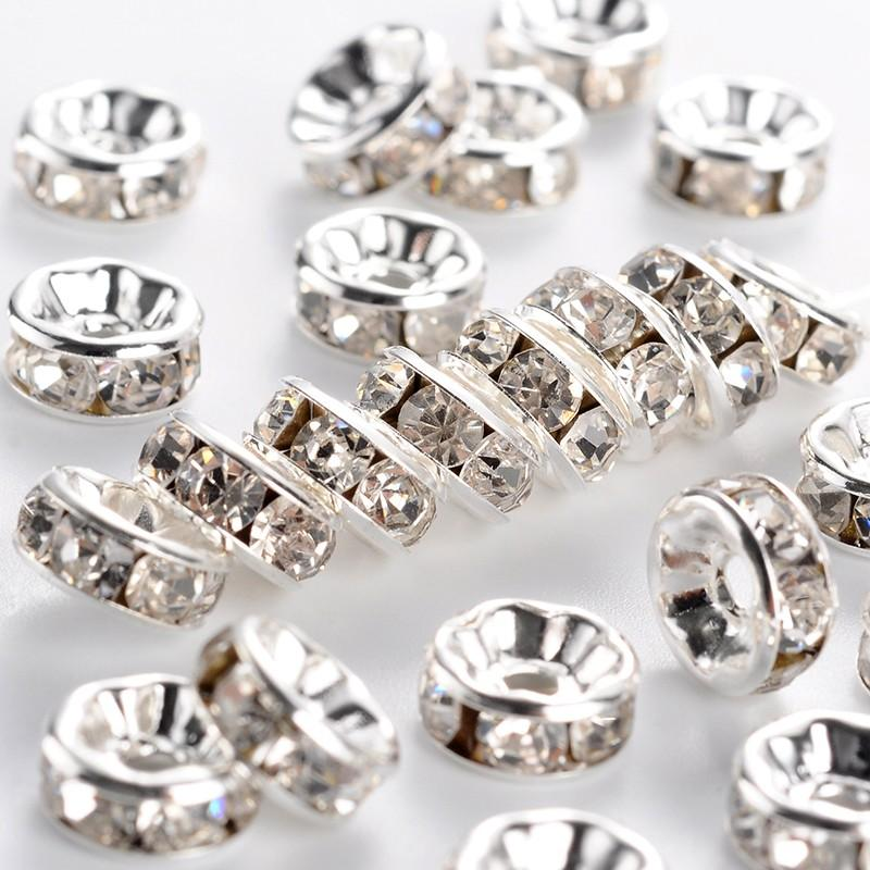 500 pièces perles despacement en laiton cristal strass 6/7/8mm Grade A Rondelle fabrication de bijoux couleur argent