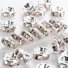 500pcs Brass Crystal Rhinestone Spacer Beads 6/7/8mm Grade A Rondelle Jewelry Makings Findings Silver Color