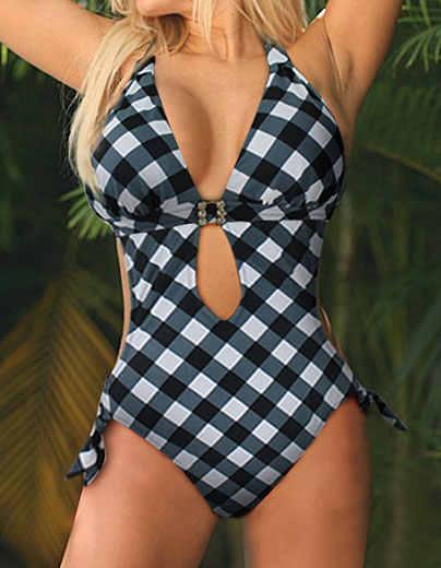 مثير تحقق نمط الأسود و الأبيض قطعة واحدة MONOKINI السيدات مبطن ملابس السباحة حجم M-3XL شحن مجاني