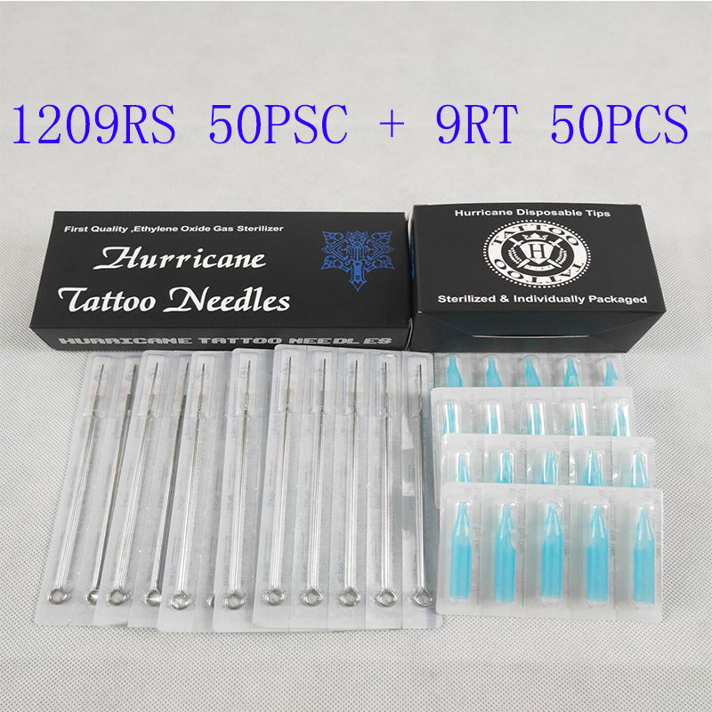 Tattoo Needles Tip (9RS+9RT) Tattoo Needles And Tubes Mixed 50PCS Sterile Tattoo Needles+ 50PCS Disposable Tattoo Tips