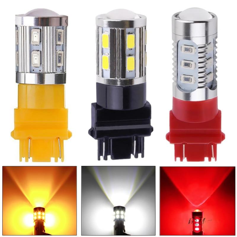 Светодиодные лампы автомобиля 7443 7440 3157 3156 1156 1157 BA15S BAU15S BAY15D ксенон красный W21/5 Вт высокой мощности кри чипсы лампа источник света парковка