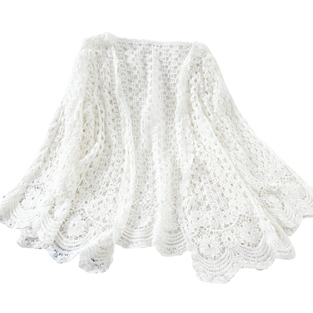 Open Lace Cardigan Crocheted Hollow Out Shrug Female Casual White Flower Floral Open Stitch Women Sweater Loose Knitted Outwear 8