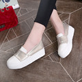 2016 Spring Style women platform Casual shoes woman flats loafers leather slip on Ladies thick sole Round Toe Solid Increasing