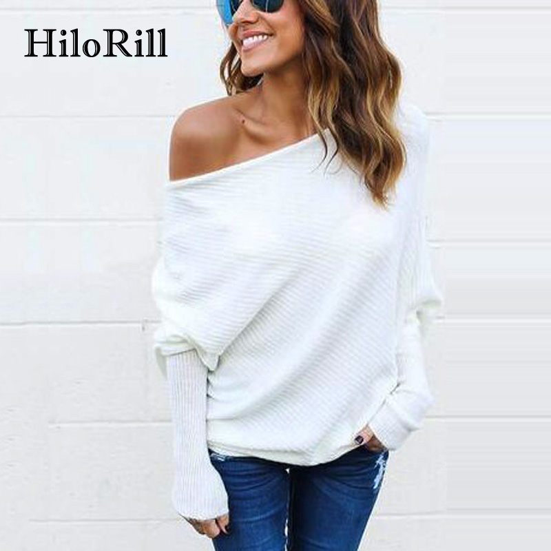 Hilorill tee shirt femme 2017 autumn sexy off the shoulder tops for women t shirt casual long - Top femme sexy ...