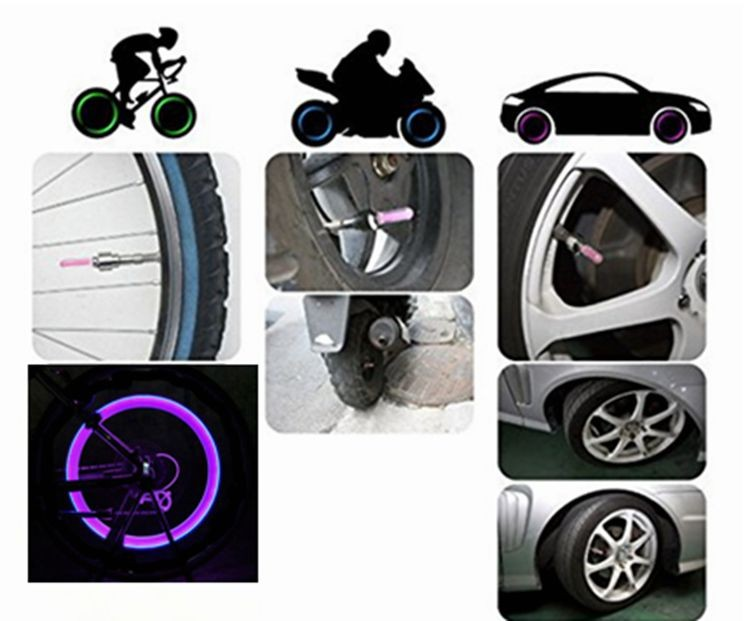 New 03 Free shipping Bike Car Motorcycle Cycling Tyre Valve Cap Wheel  Lights (3)