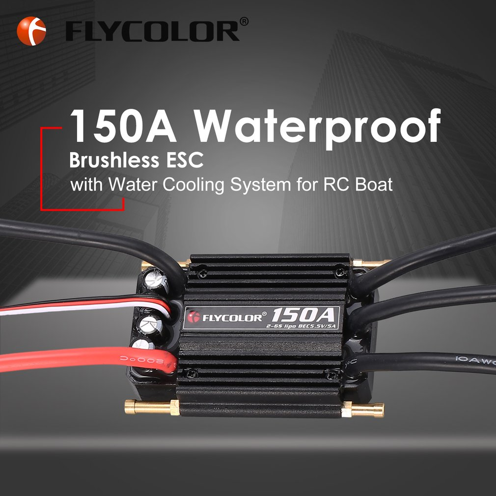 Original FLYCOLOR 2-6S 150A Waterproof Brushless ESC Speed Controller for RC Boat Ship with BEC 5.5V/5A Water Cooling System 320a waterproof rc boat esc eletric speed controller for rc crawler car boat regulator spare parts 7 2 16v with fan two motors