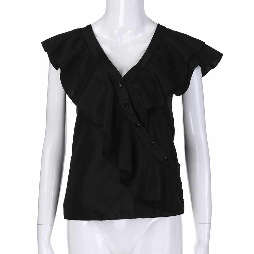 2019 lato Sexy Plus rozmiar 3XL 4XL 5XL koszula na co dzień kobiety Tshirt ponadgabarytowych T Shirt V Neck kamizelka bez rękawów wzburzyć topy kobiet tunika tee