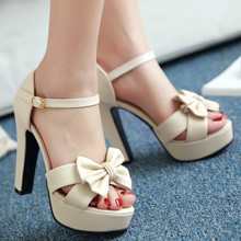 Womens Super High Chunky Heel Bowknot Ankle Strap Sandals Shoes Party Evening Platform Size33 Plus Size
