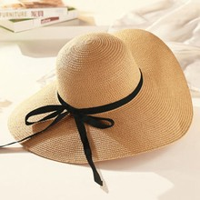 2019 Sun Hat Hot Sale Round Top Raffia Wide Brim Straw Hats Summer Sun Hats  for Women With Leisure Beach Hats Lady Flat Gorras 4794ab10cf9a