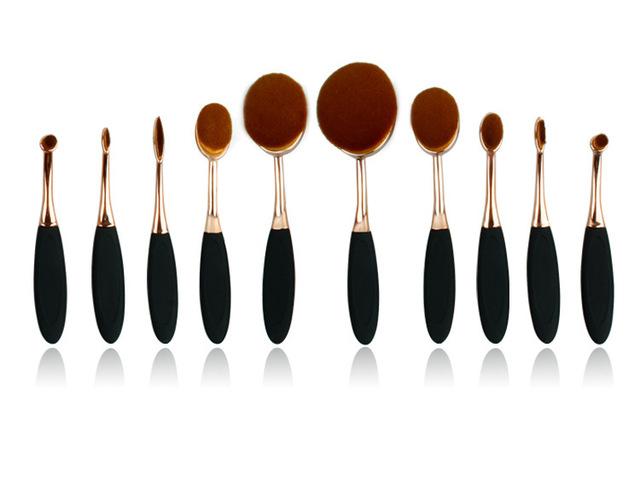 2017 Pincéis de Maquiagem Profissional Cabelo Macio 10 pcs Make Up Brushes Foundation Pó Escova Cosmética portátil Como Escova de Dentes D251