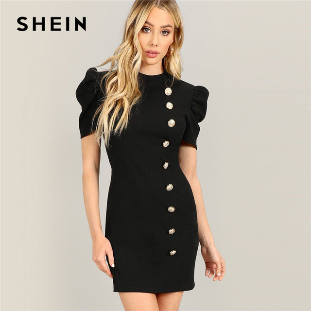 9351aa05c4 SHEIN Black Elegant Solid Stand Collar Gold Button Front Puff Sleeve  Bodycon Pencil Dress Spring Ladies Slim Party Dresses   nabitoo.com