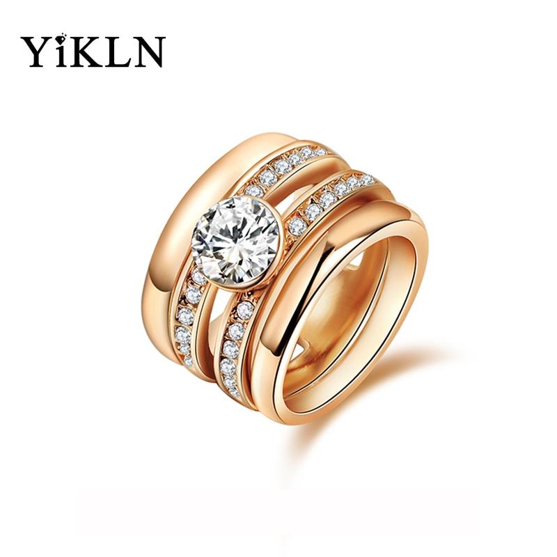 a397d99d574d YiKLN joyería anillos de moda de oro de Color anillos de boda anillos de  cristal austriaco Micro-Inserted joyería ambiental R150300293R