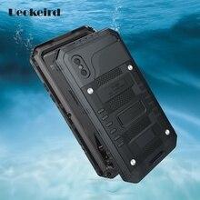 Metal Zırh Apple iphone Için Su Geçirmez Kılıf X Kılıf Açık iphone 8 Için yüzmek Artı Telefon Kapak Koruma Ses Parmak Izi çalışma