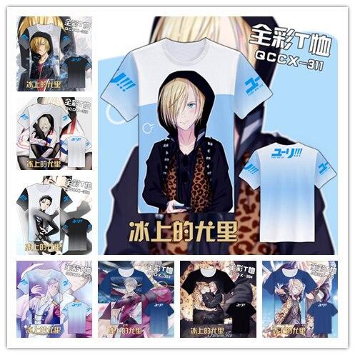 YURI en ICE Fashion Japanese Anime Clothing Manga Corta Unisex Casual - Disfraces