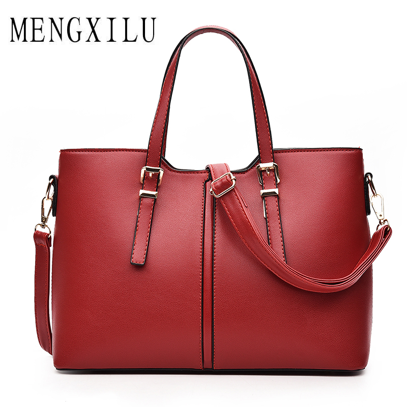 MENGXILU Famous Brand Ladies Hand Bags PU Leather Women Bag Casual Tote Shoulder Bags 2018 Sac Fashion Luxury Handbags Large Hot