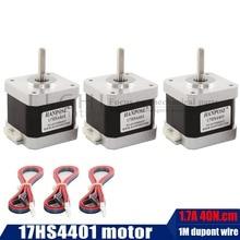משלוח חינם 3pcs 4 עופרת Nema17 מנוע צעד 42 מנוע Nema 17 מנוע 1.7A (17HS4401 D) דופונט חוט 3D מדפסת מנוע CNC XYZ
