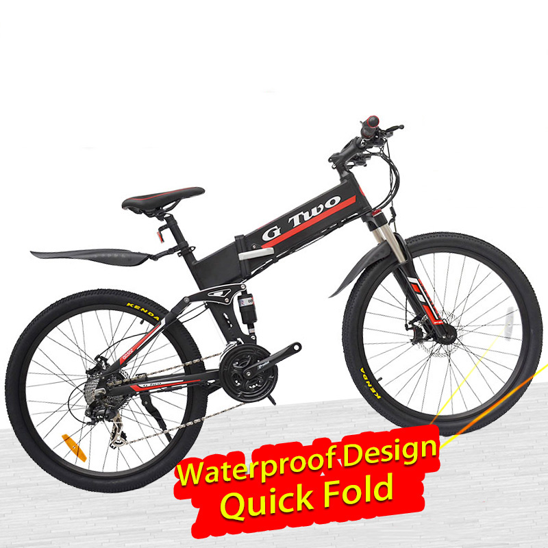 26inch Foldable Electric Bicycle Mountain Bike,36V/48V,7.8Ah/8.7Ah Lithuim Battery,250W/350W,21/27Speeds,Aluminum Frame