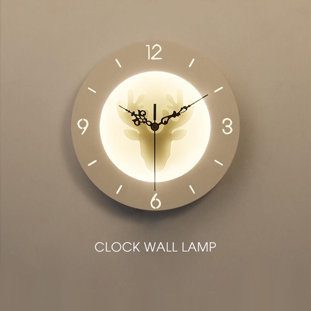 9.5inch Bedroom Bedside LED Wall Lamp Deer Butterfly Clock Sconce Lights Hanging Lamp Bed Designs Modern Wall Art Home Decor forest floral deer print tapestry wall hanging art