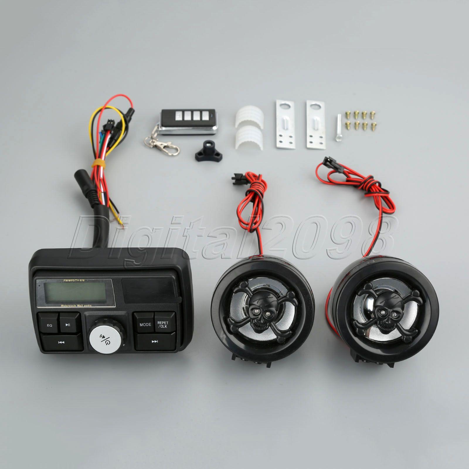 1set étanche moto amplificateur Audio système de son Anti-vol FM lecteur MP3 Radio stéréo haut-parleurs système d'alarme Scooter ATV