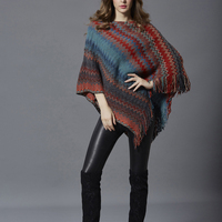 DSQUAENHD Wavy Striped Cloak Coat for Women Casual Loose Batwing Sleeve Capes Knit Ponchos Sweater Famale Spring Clothings
