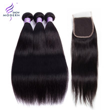 Cambodian Straight Hair Bundles With Closure 3 4 Bundle Deals Modern Show Remy Hair Weave Human Hair Bundles With Closure(China)