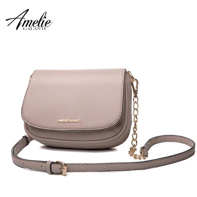 AMELIE GALANTI Casual Messenger Bags for Women Leather Fashion Lady Crossbody Bag Solid Soft PU Circular Cover Women Handbags