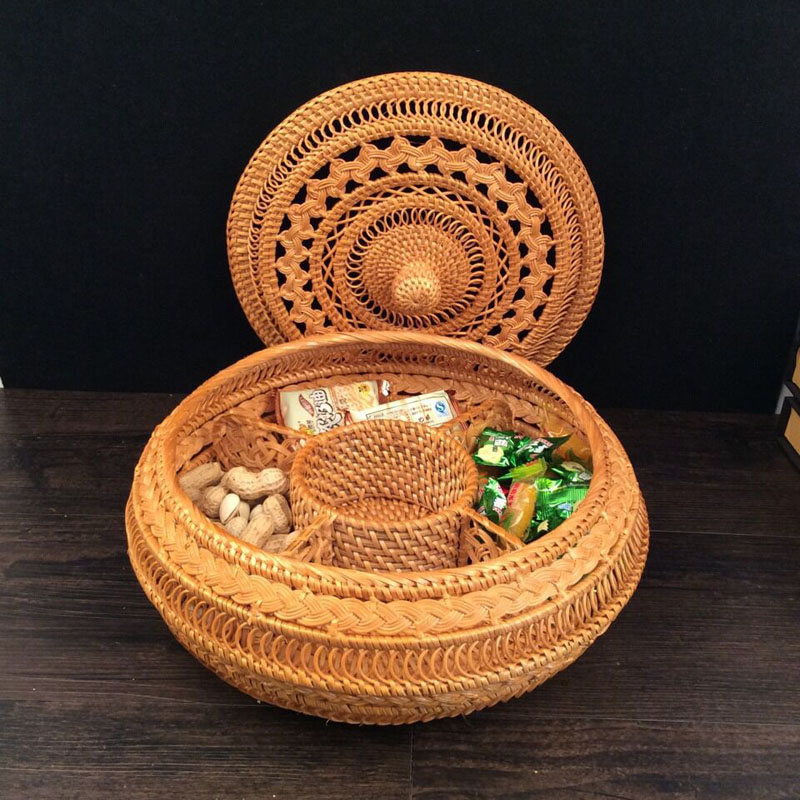 Vietnam Autumn Rattan puerh tea tin box with lid round hand woven dried fruit storage box for snack pastry sundries best gift-in Storage Boxes & Bins from Home & Garden    2