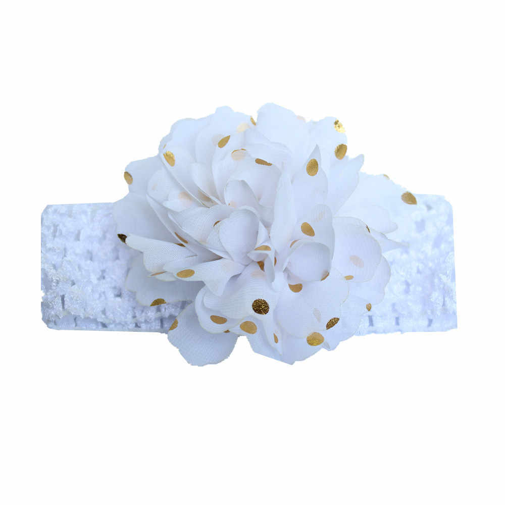 PARRY Hair Accessories Newborn Girls Headband Baby Girls Chiffon Flowers Headbands Toddler Kids Gold Blocking  dot Headband