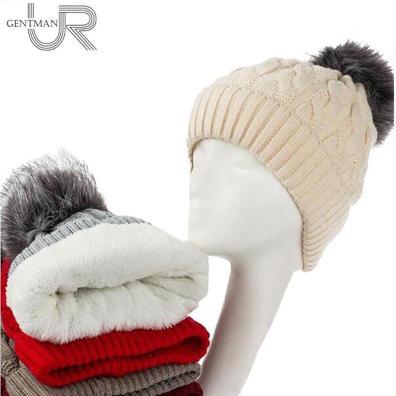 New Add Lining Knitted Winter Hats Women Warm Fur Pompom Cap Skullies & Beanies For Women High Quality Girls Hats skullies beanies winter woman fashion knitting hats with pompom beanies girls warm letter b cap