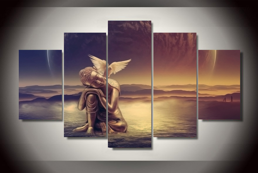 Framed Printed Buddha Peace Dove Painting children's room decor print poster picture canvas Free shipping/jjk-2879