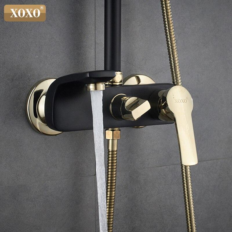 XOXO Neue schwarz + gold überzogene kupfer bad dusche wasserhahn badezimmer dusche wasserhahn dusche set mixer höhe einstellen 21050H