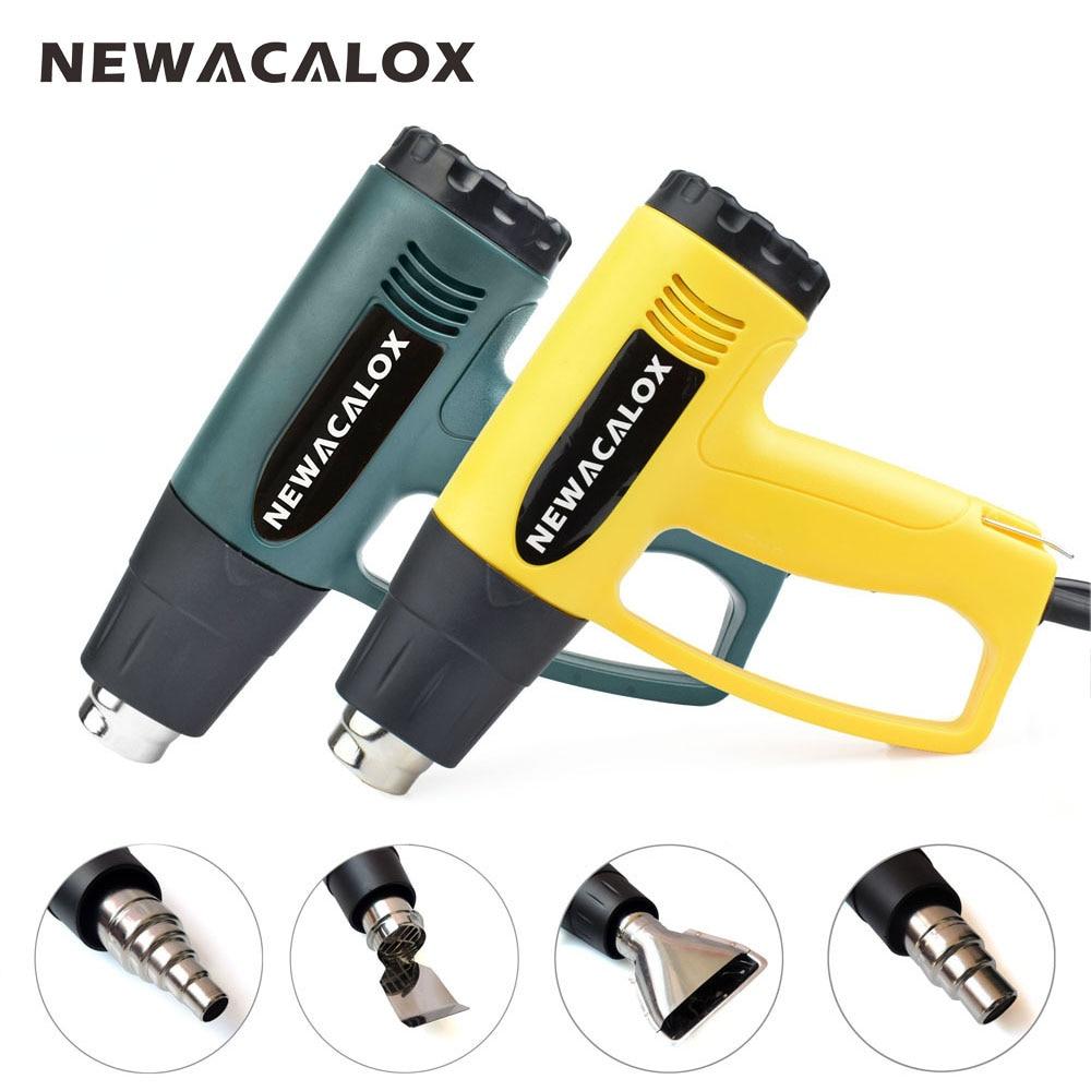 NEWACALOX 2000 Vatios 220 V Enchufe de LA UE Eléctrico Industrial Pistola de Aire Caliente Termorregulador Pistolas De Calor Retractilado Boquilla Calentador Térmico