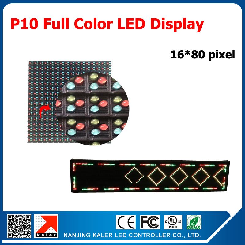 P10 led display module 10mm 16*16pixel 1/4 scan outdoor rgb led panel full color 16*80cm led sign board
