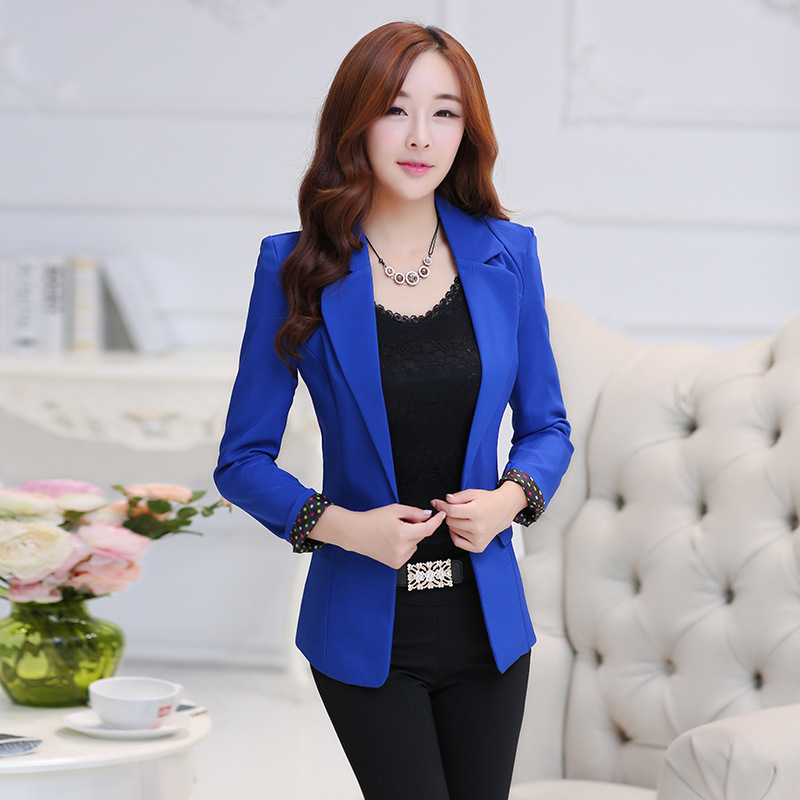 Ladies jacket 2017 new style ladies spring and autumn coat solid color fashion Slim casual suit jacket