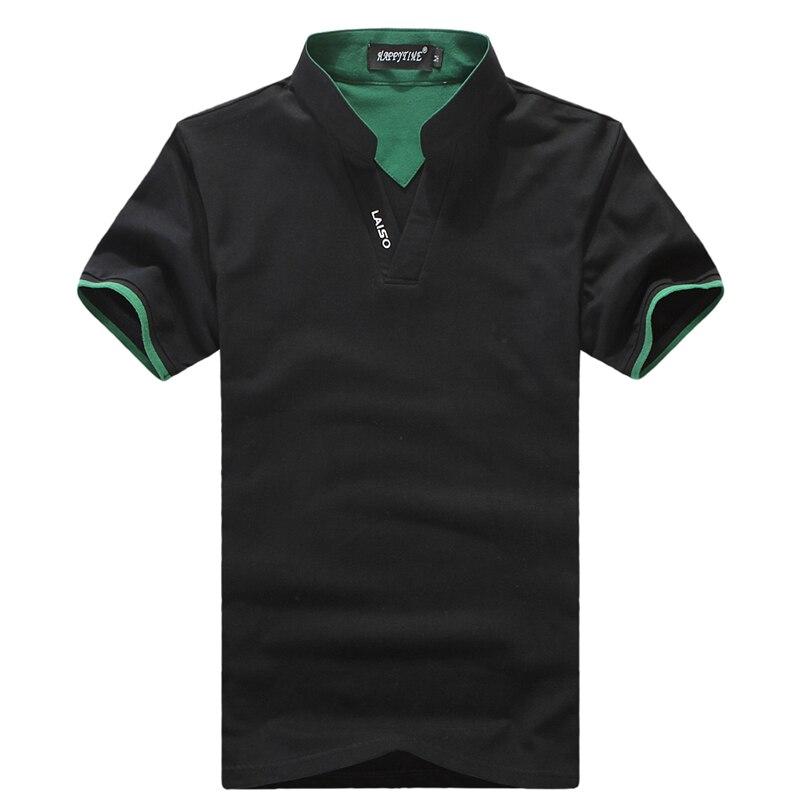 2017 пишет прибытие поло мужчины лето с коротким рукавом твердые v-образным вырезом качество хлопка мужской рубашки поло slim fit теэ рубашку мужчины м-5xl