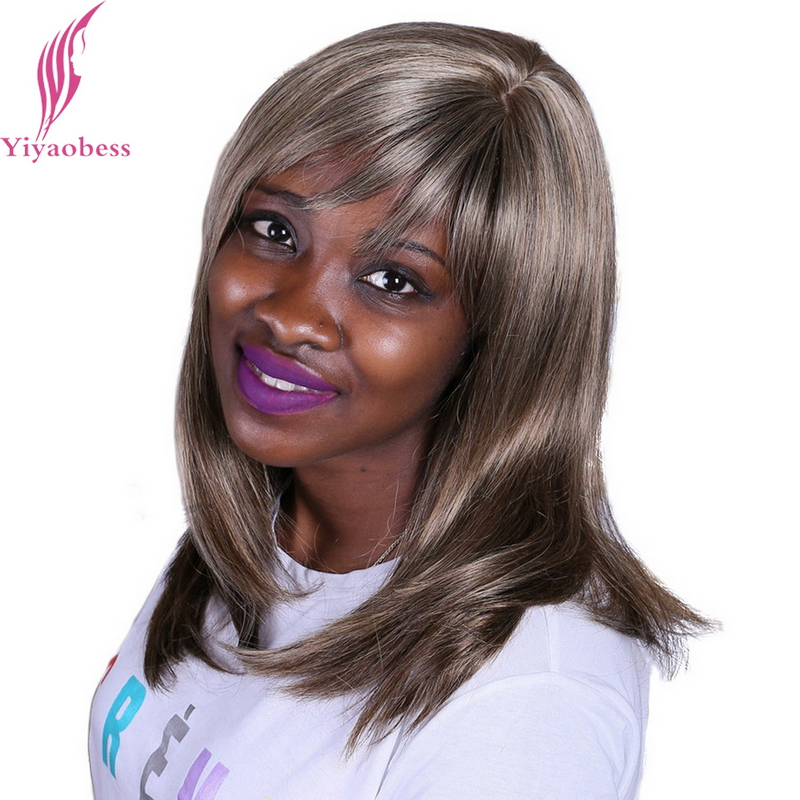 Yiyaobess 40cm Synthetic Womens Straight Wig Highlights For Blonde Hair Natural Straight Afro Medium Length Wigs With Bangs