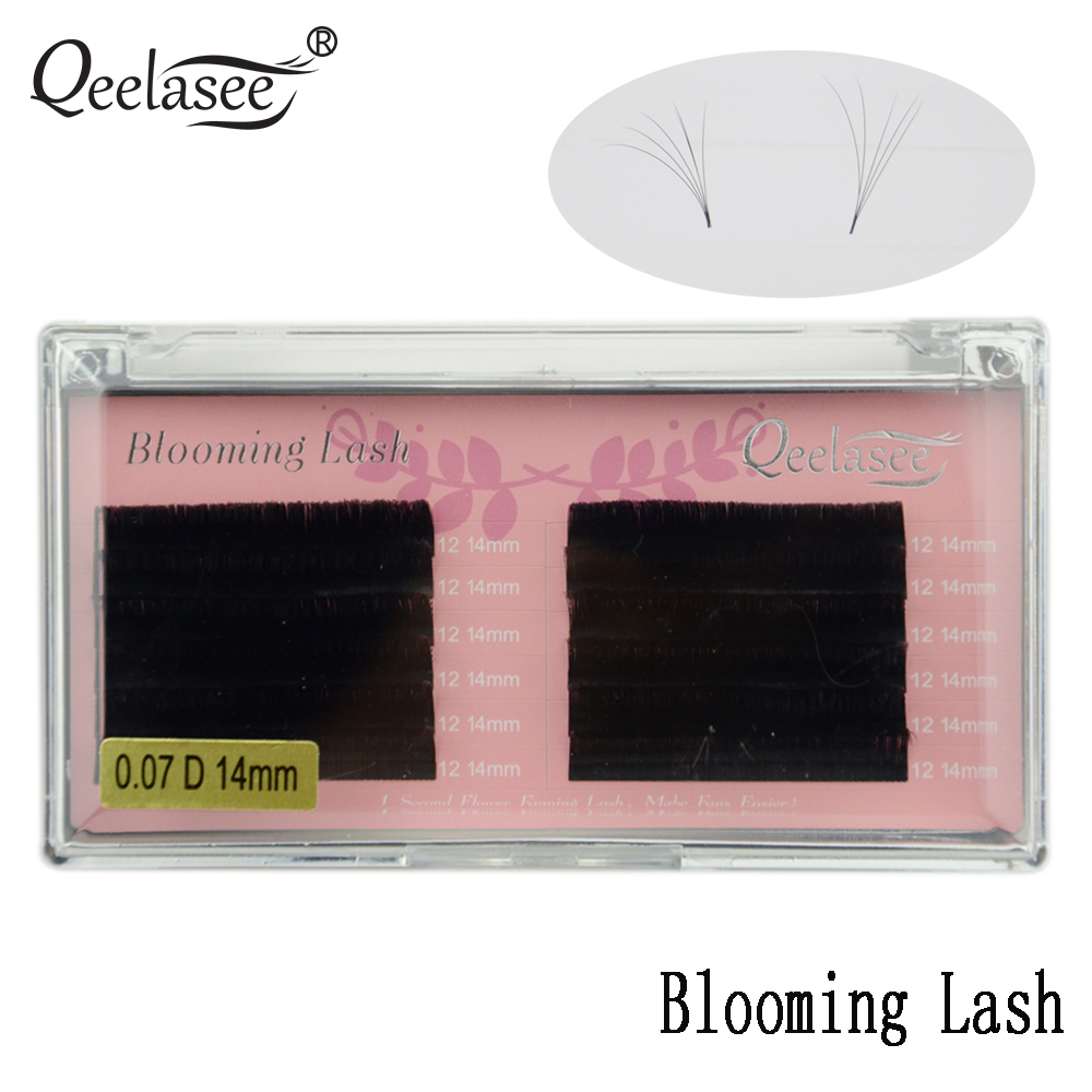 Qeelasee One Tray 0.05/0.07 Blooming Lash Automatic Fanning Lash Faux Mink Volume Eyelash Extensions Easy Fan For Makeup