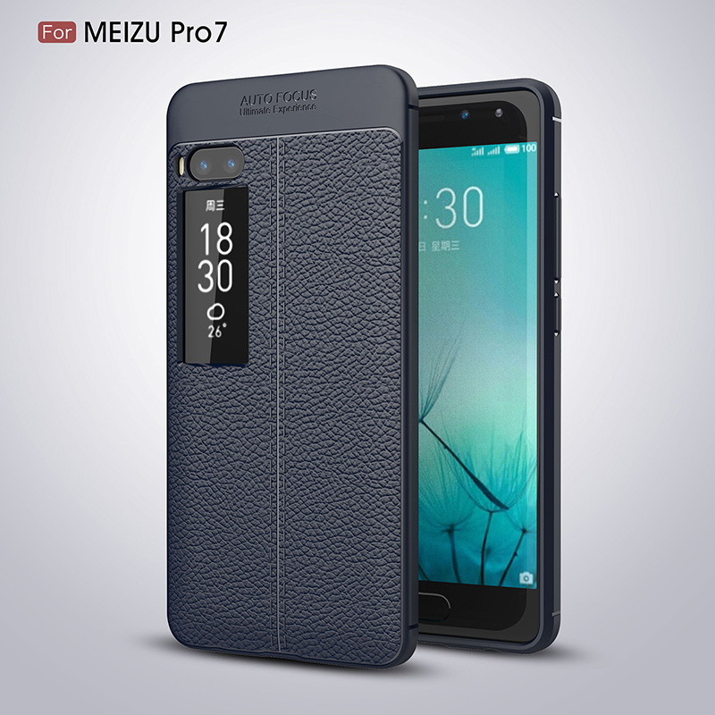 Litchi leather silicone case Meizu Pro 7 (14)