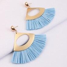 Straw Raffia Earrings for Women Triangle Lafite Tassel Earring Vintage Lightweight Drop Earrings Handmade Jewelry 2019 цена 2017