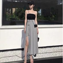 Summer Korean 2 Piece Set Clothes for Women Two Piece Outfits Set Pleated Tube Top + Lace-up Side Slit Pencil Skirt plus size pleated side slit asymmetrical skirt