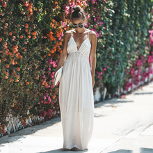 Helisopus 2019 Sexy Backless Halter Dress Summer Women's Elegant Lace Strap Hollow Out Long Dresses Vestido