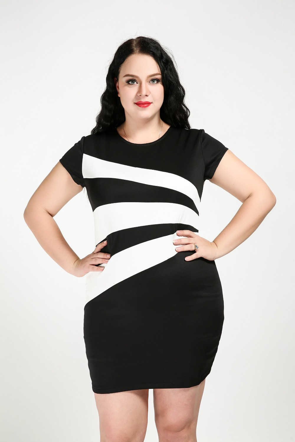 Plus size black and white casual dresses