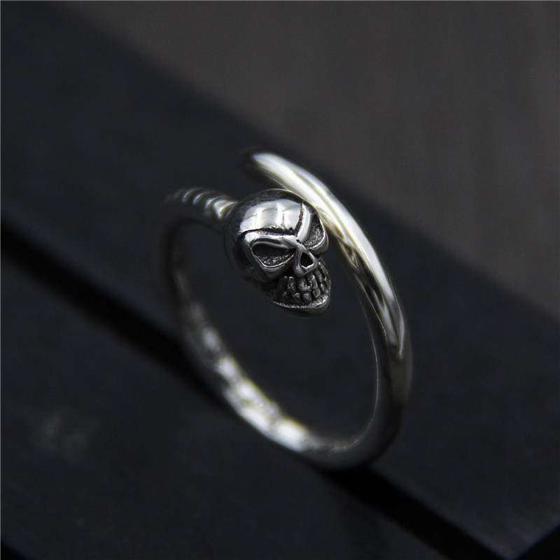 C&R 925 Sterling Silver Rings for Women vintage skull nail ring men and women unisex Fine Jewelry size 6-9 adjustable